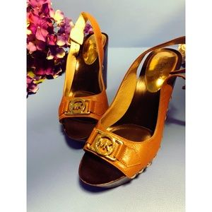 MK brown leather gold rivets peep toe clogs mules